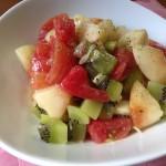 桃とキウイとトマトの冷製パスタレシピ